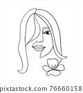 Woman face with flower. Continuous line drawing. line 76660158