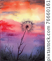 Sunset watercolor illustration. The sky over the field and dandelion 76660161