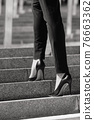 Closeup woman have pain in leg because wearing highheels. Conception about carrer and business 76663362