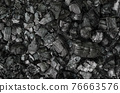 Black and gray pieces of burnt branches, in the remains of an extinguished fire. Charred branches and big chunks of charcoal on the ground. Carbonized wood. Photo. 76663576
