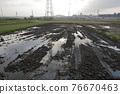 rice field, plough, sunrise 76670463