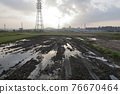 rice field, plough, sunrise 76670464