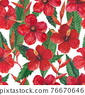 Tropical seamless pattern with red hibiscus flowers and leaves. Watercolor illustration. 76670646