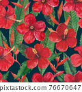 Tropical seamless pattern with red hibiscus flowers and leaves. Watercolor illustration. 76670647