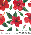 Tropical seamless pattern with red hibiscus flowers and leaves. Watercolor illustration. 76670650