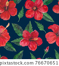 Tropical seamless pattern with red hibiscus flowers and leaves. Watercolor illustration. 76670651