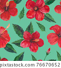 Tropical seamless pattern with red hibiscus flowers and leaves. Watercolor illustration. 76670652