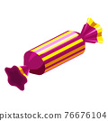 Candy isometric wrapped festive bonbon caramel color. Vector 76676104