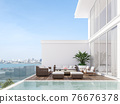 Minimal stye white house with wooden swimming pool terrace 3d render 76676378