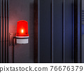 Red siren light warning activation on industrial loft style wall background 3d render 76676379