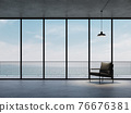 Minimal loft style empty room with sea view background 3d render 76676381