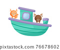 Cute little squirrel and moose sailing on emerald ship. Cartoon character for childrens book, album, baby shower, greeting card, party invitation, house interior. Vector stock illustration. 76678602