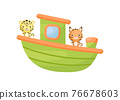 Cute little lynx and jaguar sailing on green ship. Cartoon character for childrens book, album, baby shower, greeting card, party invitation, house interior. Vector stock illustration. 76678603