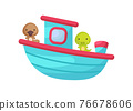Cute little platypus and crocodile sailing on turqoise ship. Cartoon character for childrens book, album, baby shower, greeting card, party invitation, house interior. Vector stock illustration. 76678606