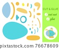 Cut and glue paper cartoon turquoise submarine. Cut and paste craft activity page. Educational game for preschool children. DIY worksheet. Kids logic game, activities jigsaw. Vector stock 76678609