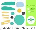 Cut and glue paper cartoon turqoise plane. Cut and paste craft activity page. Educational game for preschool children. DIY worksheet. Kids logic game, activities jigsaw. Vector stock illustration. 76678611