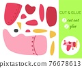 Cut and glue paper cartoon pink plane. Cut and paste craft activity page. Educational game for preschool children. DIY worksheet. Kids logic game, activities jigsaw. Vector stock illustration. 76678613
