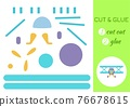 Cut and glue paper cartoon turquoise plane. Cut and paste craft activity page. Educational game for preschool children. DIY worksheet. Kids logic game, activities jigsaw. Vector stock illustration. 76678615