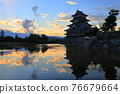 summer, sunset, matsumoto castle 76679664