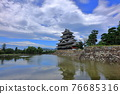 summer clouds, matsumoto castle, reflective water surface 76685316
