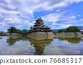 summer weather, national treasure, matsumoto castle 76685317