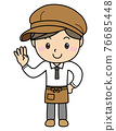 Boy 02_09 (Young male clerk at a cafe or general store showing four fingers) 76685448