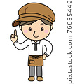 Boy 02_09 (Young male clerk at a cafe or general store with one finger) 76685449
