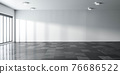 empty big room modern office building interior with white walls, sunlight and marble floor 3d render illustration 76686522