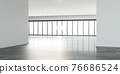 big empty loft office windows, empty work space with building view and bright sun lighting 3d render illustration 76686524