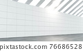 white hall wall with tiles and dark marble tiled floor 3d render illustration 76686528
