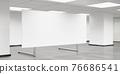 empty blank white board flip chart in big room office 3d render illustration 76686541