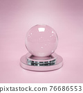 empty magical glass sphere snow ball 3d render illustration with vintage pink background 76686553