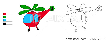 helicopter coloring book for kids with flowers 76687367