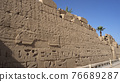 The Great Karnak Inscription  ancient Egyptian large hieroglyphic wall in Karnak temple Egypt Luxor 76689287