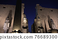 Temple of Luxor entrance at night with architecture uplight beautiful historic landmark 76689300