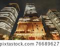 大阪市中心的中之島節日塔夜景 76689627