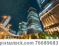 從大阪市中心的中之島錦橋看到城市的夜景 76689683