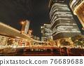 從大阪市中心的中之島錦橋看到城市的夜景 76689688