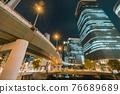 從大阪市中心的中之島錦橋看到城市的夜景 76689689