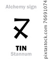 Alchemy Alphabet: TIN (Stannum / Stagnum, Plumbum album; Cassiterum), one of seven ancient metals; eq.: stean, white lead, kassiteros (greek), also: alloy of silver and lead. Chemical formula=[Sn]. 76691074
