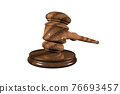 A wooden judge gavel and soundboard isolated on white background in perspective 3d illustration style 76693457