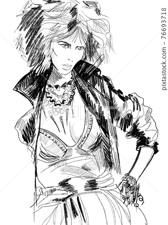 Hand-drawn abstract fashion illustration of imaginary female model, with the trendy rock star outfit: leather jacket, dress, necklace.  Color book page. Posing reference. Black white woman sketch.  76693718