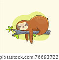Funny colorful sloth sleeps on the branch. 76693722