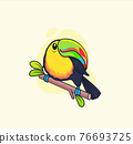 Funny colorful toucan sitting on branch. 76693725