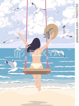 Young Woman on a Swing at the Sea Coast 76693760