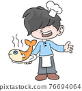 Boy learns to be a chef to cook delicious fish dishes, doodle icon image kawaii 76694064
