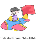 boy driving an airplane around the sky to achieve goals, doodle icon image kawaii 76694066