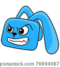 blue rabbit head with angry face, doodle icon drawing 76694067