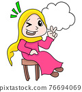 beautiful girl with a happy smiling face, doodle icon image kawaii 76694069