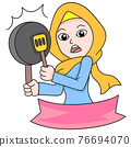 banner of a beautiful Islamic hijab woman carrying a frying pan and spatula for cooking, doodle icon im\age kawaii 76694070